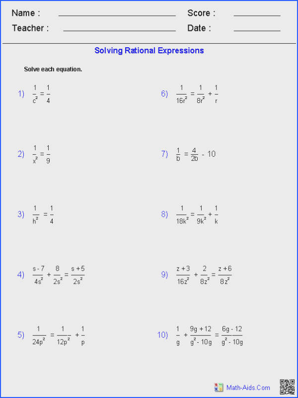 Solving Equations Worksheets & solve Linear Equation Worksheet Image Below solving Rational Equations Worksheet