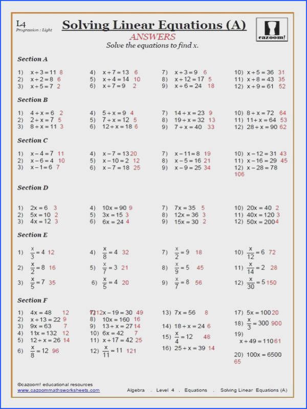 Solving Linear Equations Worksheets PDF
