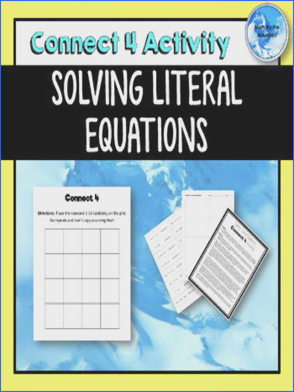 Solving Literal Equations Connect 4 Activity