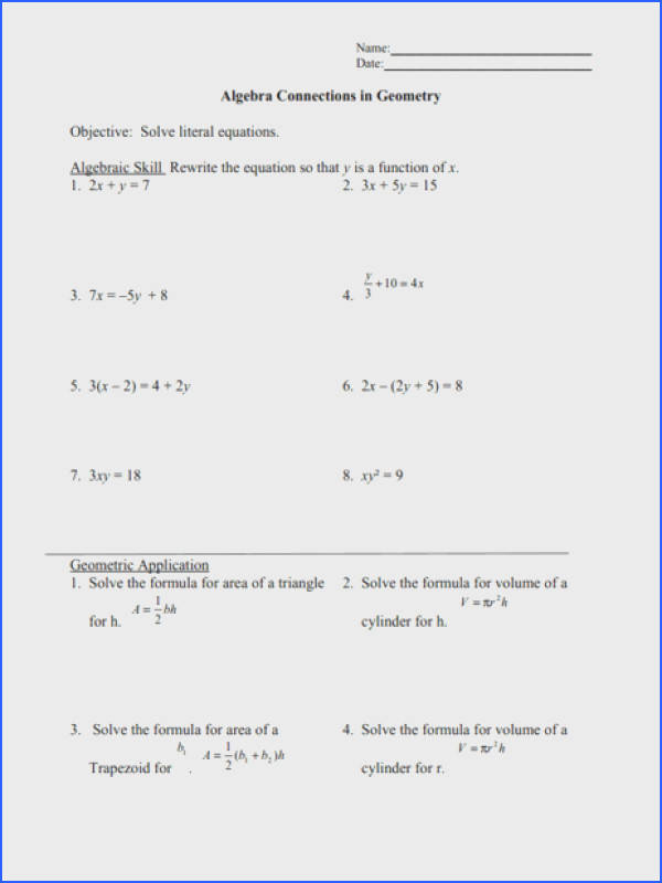 Solving Literal Equations Worksheet Worksheets for all Download and Worksheets