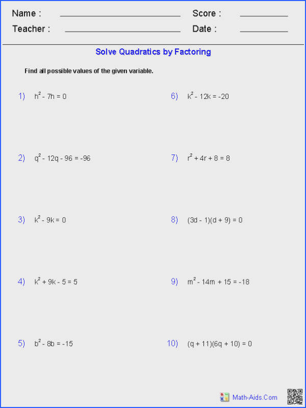 Solving Quadratic Equations by Factoring Mathematics Image Below solving Quadratics by Factoring Worksheet