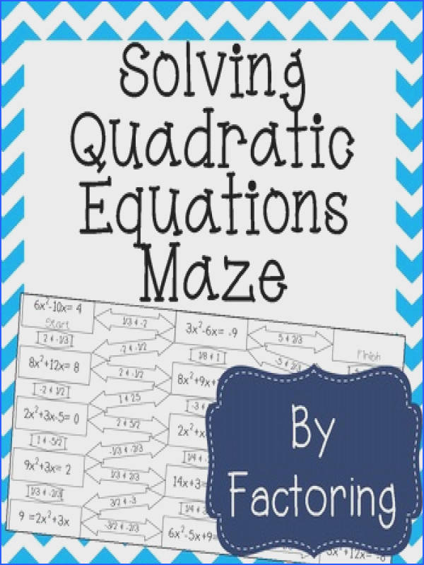 Solving Quadratic Equations by Factoring Maze