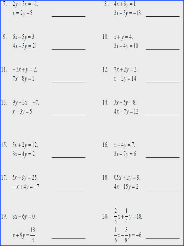 Solving Systems Linear Equations By Elimination Worksheet Worksheets For All Download And Free