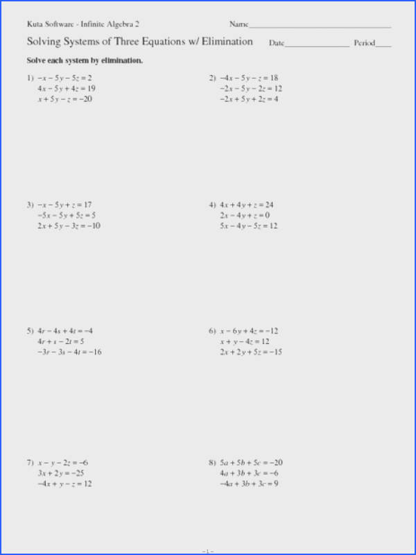 Solving Systems Equations With 3 Variables Worksheet