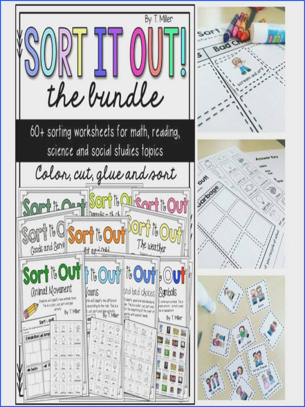 Sort worksheets that includes reading writing math phonics grammar and social skills