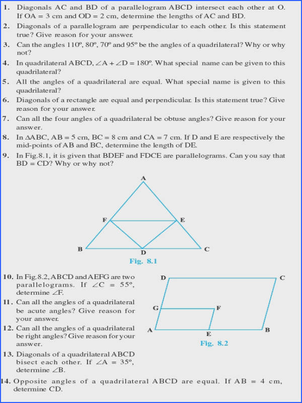 Special Quadrilaterals Worksheet