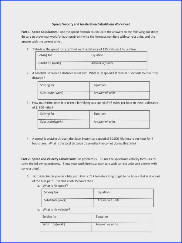 Speed And Velocity Worksheet Worksheets for all Download and Worksheets
