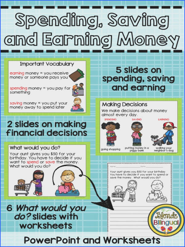 Introduce the concepts of spending saving and earning money to your kindergarten or first grade