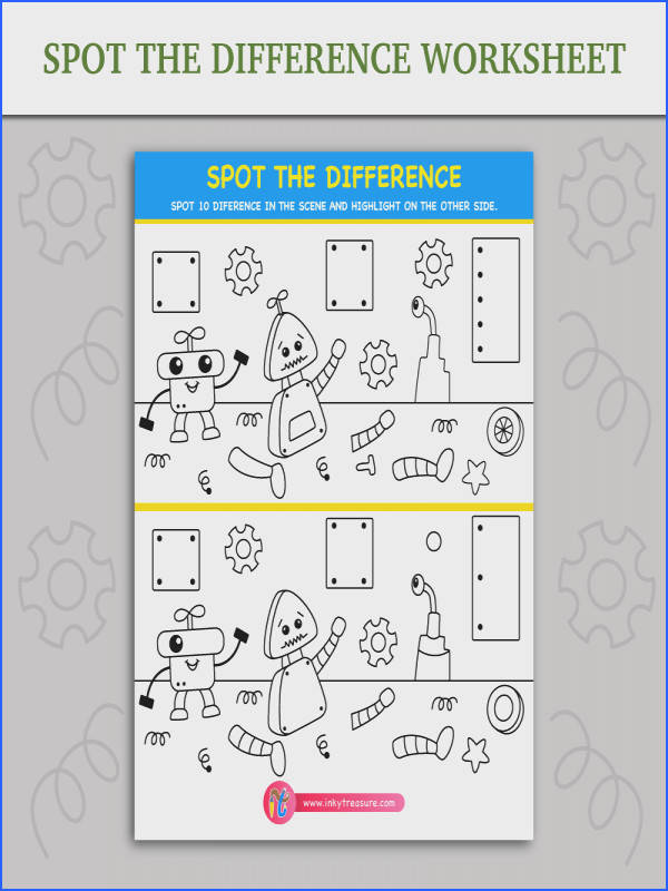 Spot the difference worksheet of robot s broken parts wondering around look awfully similar but there are slight differences between the two