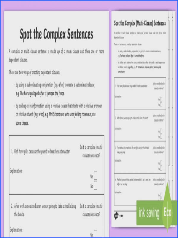 Spot the plex Multi Clause Sentences Worksheet Activity Sheets ESL Spot