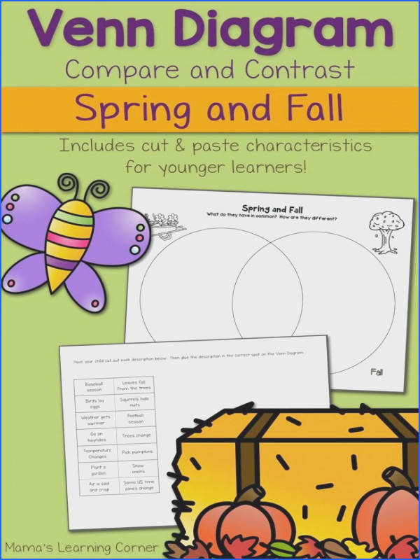 Spring and Fall Venn Diagram Worksheet includes characteristics for younger learners to cut and paste