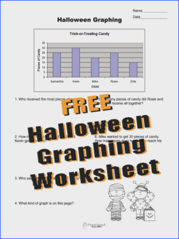 Squarehead Teachers FREE Halloween Graphing worksheet for kids interpreting data from a bar graph