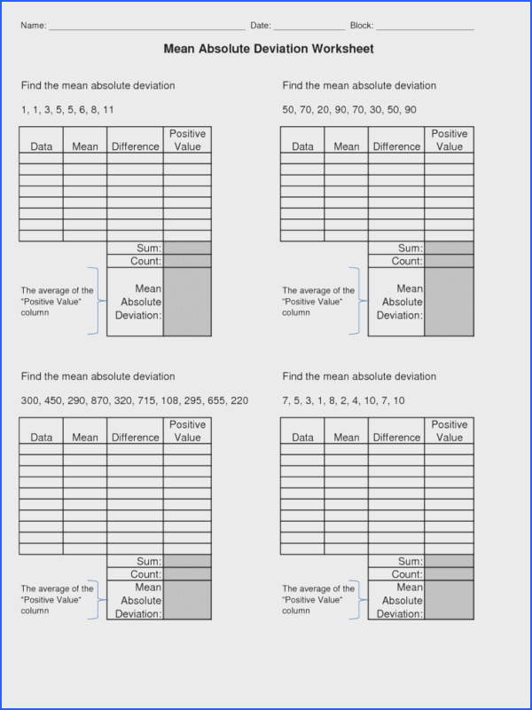 mean absolute deviation worksheet worksheet standard deviation worksheet math ii standard deviation