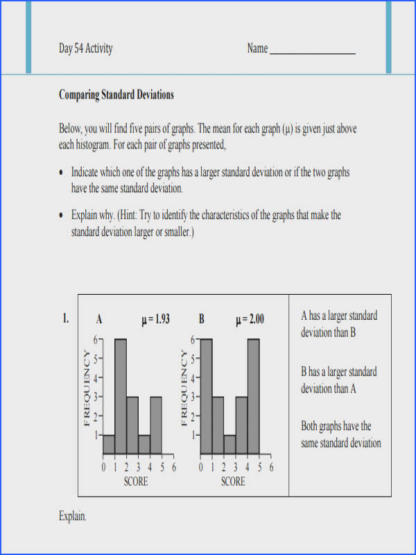 Free Standard Deviation Worksheet Activity