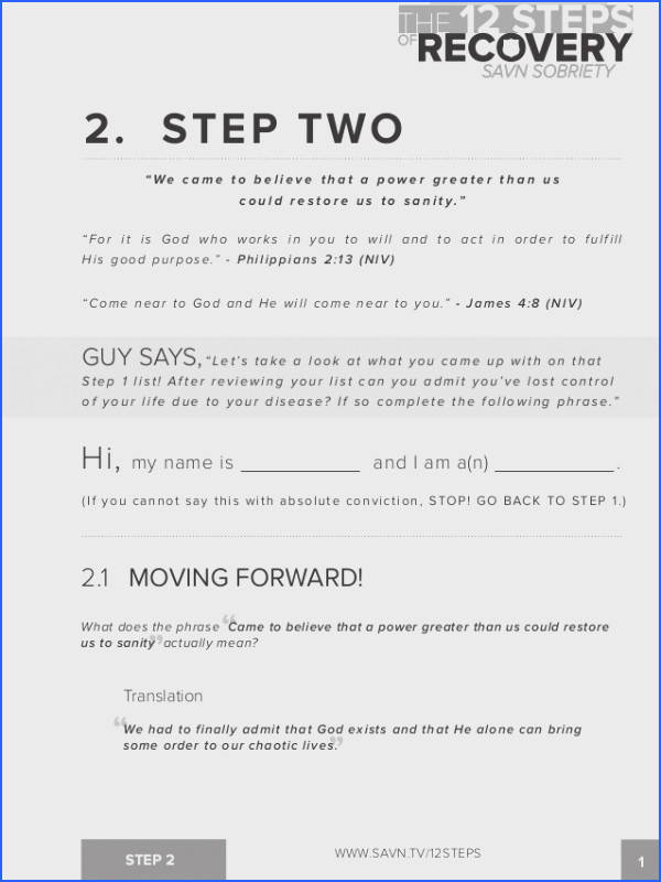 Step Work Worksheets for Aa the 12 Steps Of Recovery Savn Image Below Step 2 Aa Worksheet
