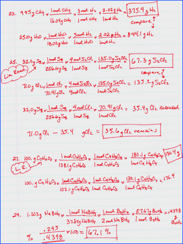 Stoichiometry Limiting Reagent Worksheet