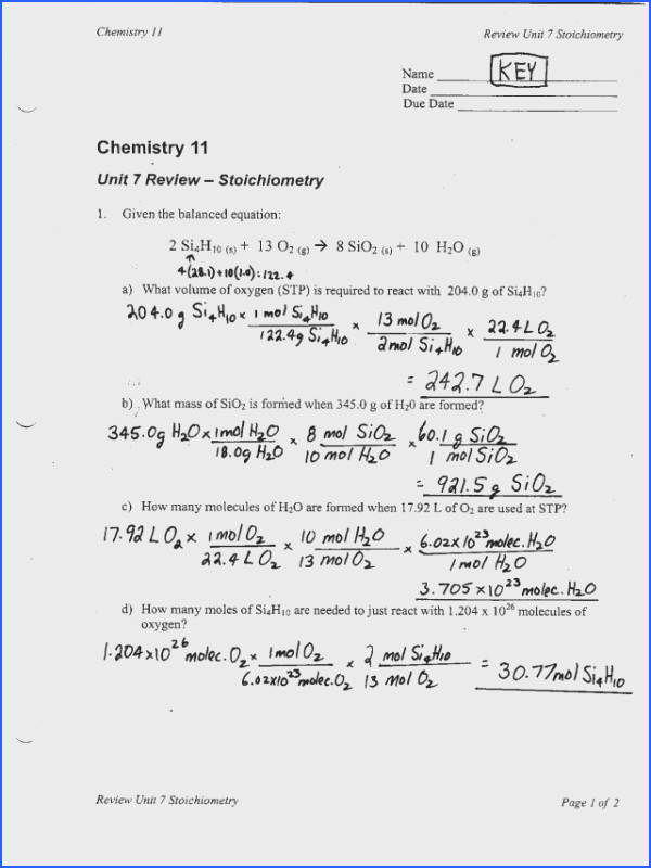 Mole Practice Worksheet Stoichiometry Problems Worksheet 1 Answers