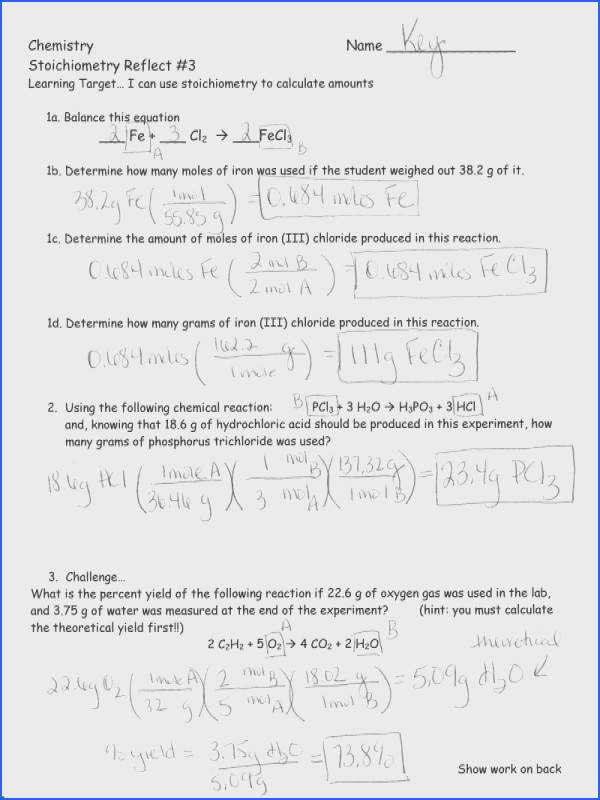 Mole Mole Stoichiometry Worksheet Mychaume