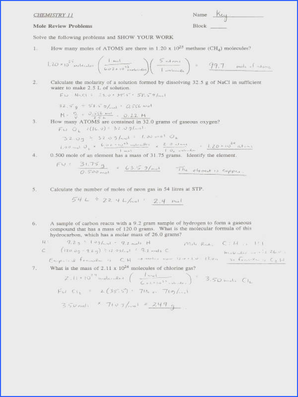 """Stoichiometry Worksheet 2 Answer Key"" Chemistry 11 Answer Key"