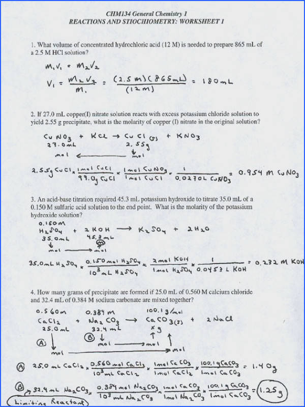 Stoichiometry Worksheet With Answer Key Worksheets For All