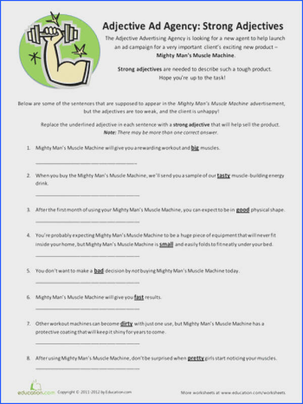 Fourth Grade Grammar Vocabulary Worksheets Strong Adjectives