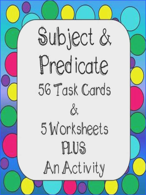 Subject and Predicate Task Cards Worksheets Activity