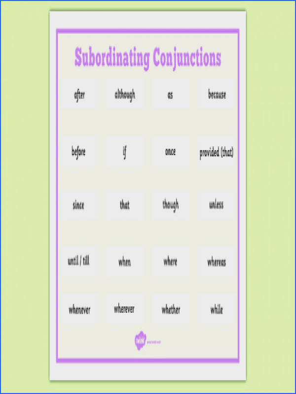 Subordinating Conjunctions Word Mat ESL Conjunctions Vocabulary