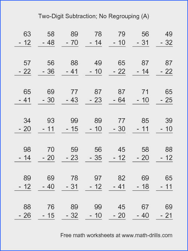 Subtraction Worksheet Two Digit Subtraction with No Regrouping 49 Questions