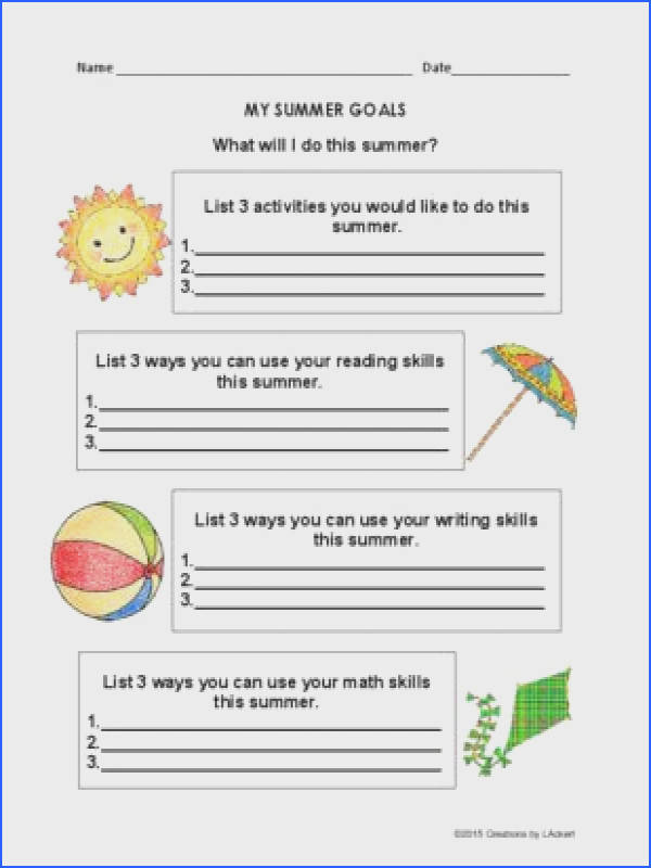Summer Goal Setting Worksheets from 1 2 3 Creations by L Ackert on TeachersNotebook