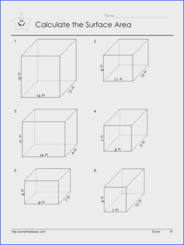 What is the surface area of the prisms on these geometry worksheets Use the formula
