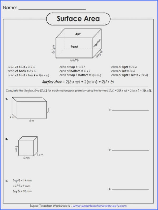 Surface area Of Prisms Worksheet & Surface area Triangular Image Below Surface area Worksheet