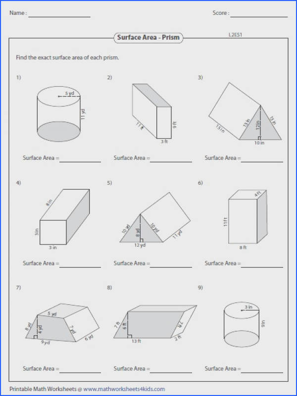 Surface Area Worksheets Mychaume