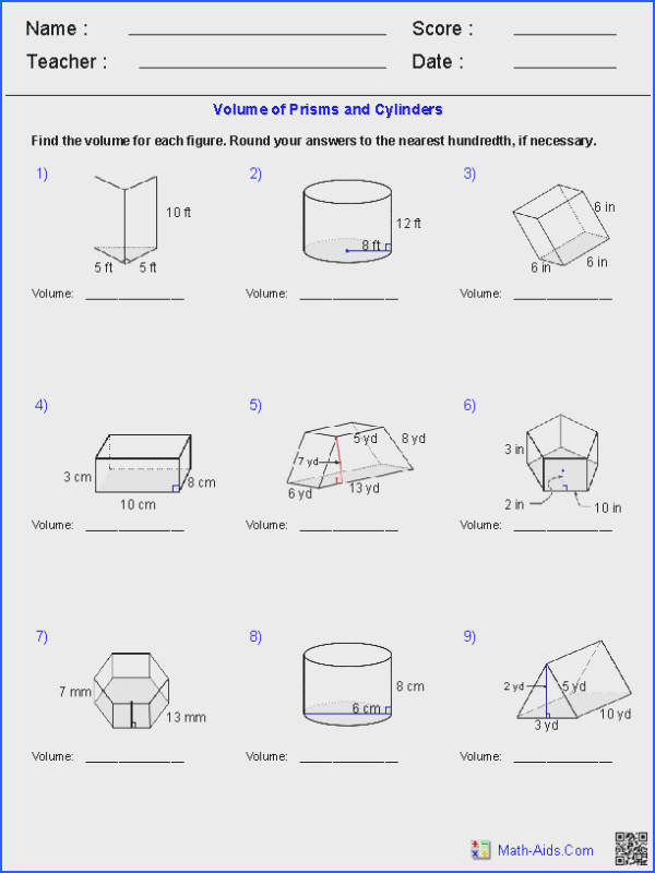 Surface area Of Prisms Worksheet & Surface area Triangular Image Below Volume Of A Cylinder Worksheet