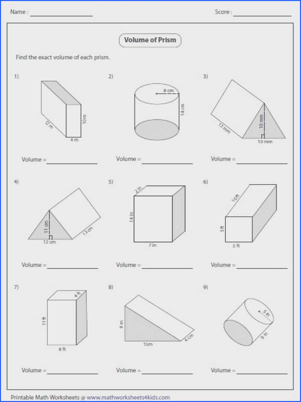 Surface area Worksheet Inspirational Surface area Triangular Prism