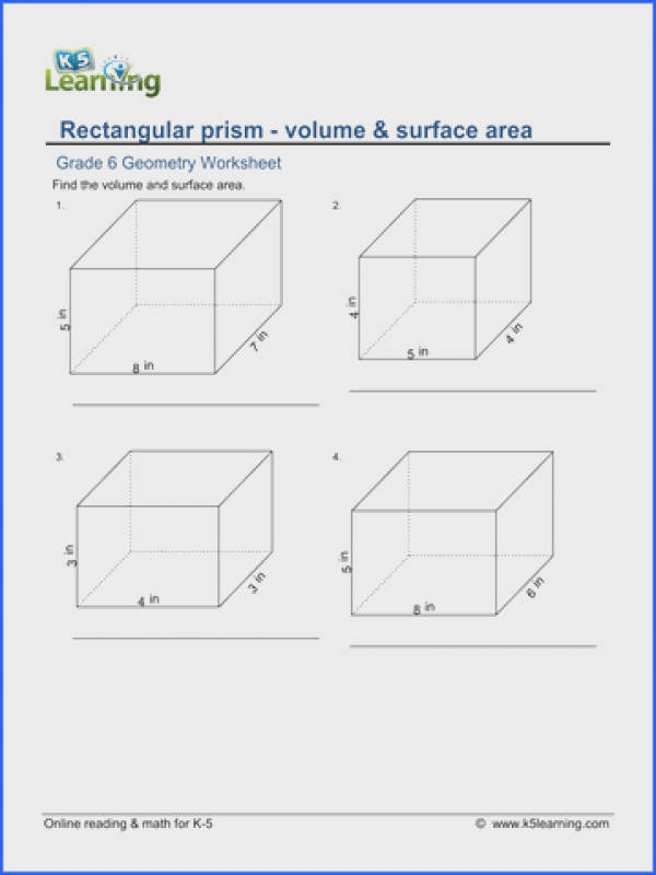Grade 6 Geometry Worksheet rectangular prism volume and surface area