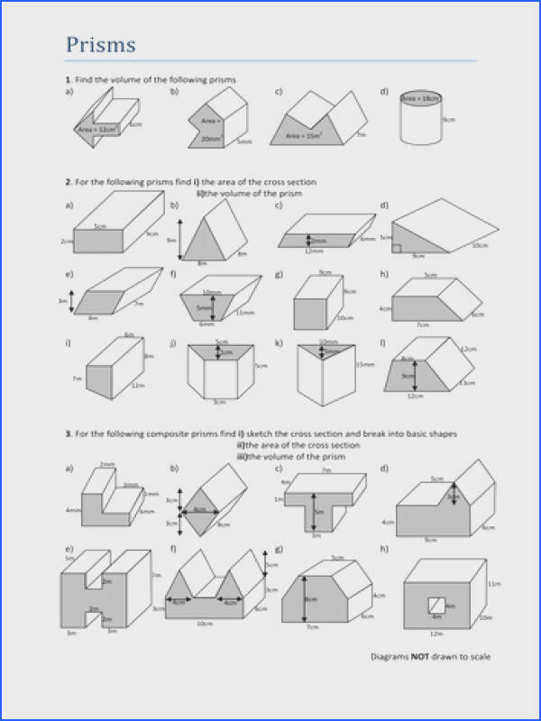 Volumes of Prisms Worksheet
