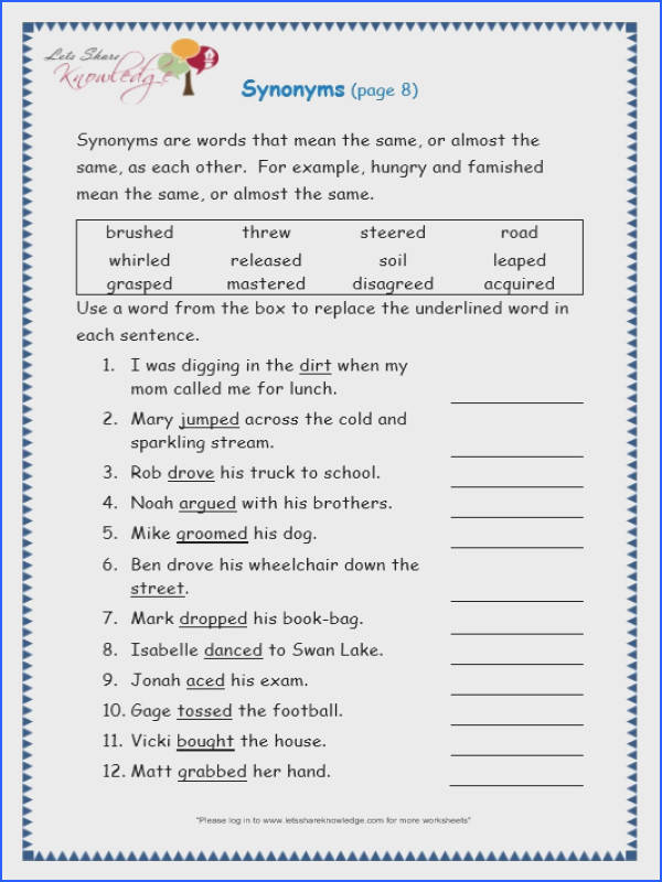 Page 8 page 8 synonyms worksheet