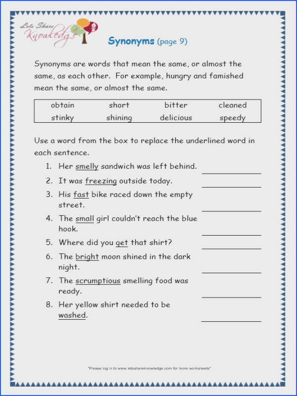 Page 9 page 9 synonyms worksheet
