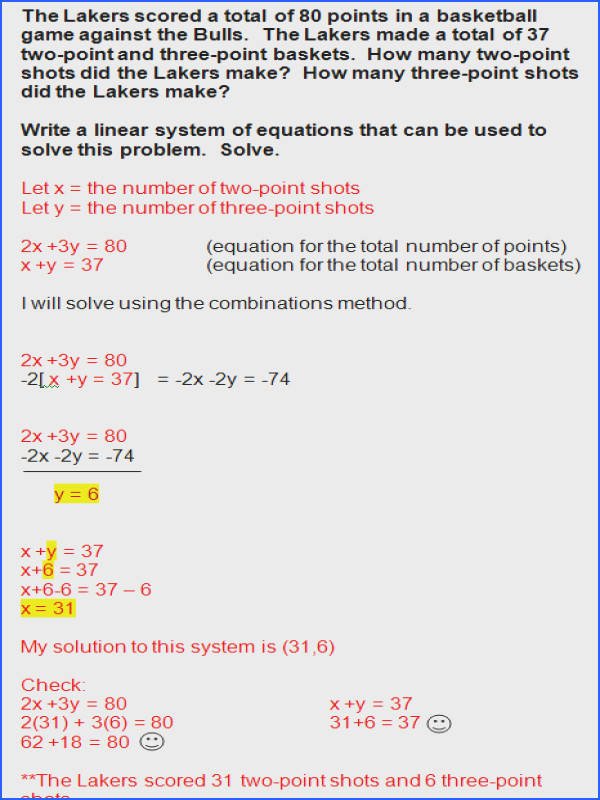 Systems Linear Equations Word Problems Worksheet