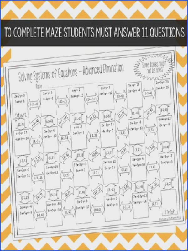 Systems of Equations Maze Advanced Elimination