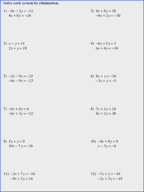 Solving Systems Linear Equations By Elimination Worksheet Worksheets for all
