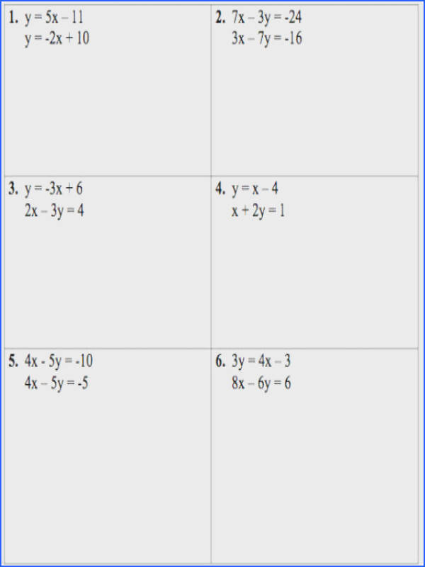 Systems Linear Equations Worksheet
