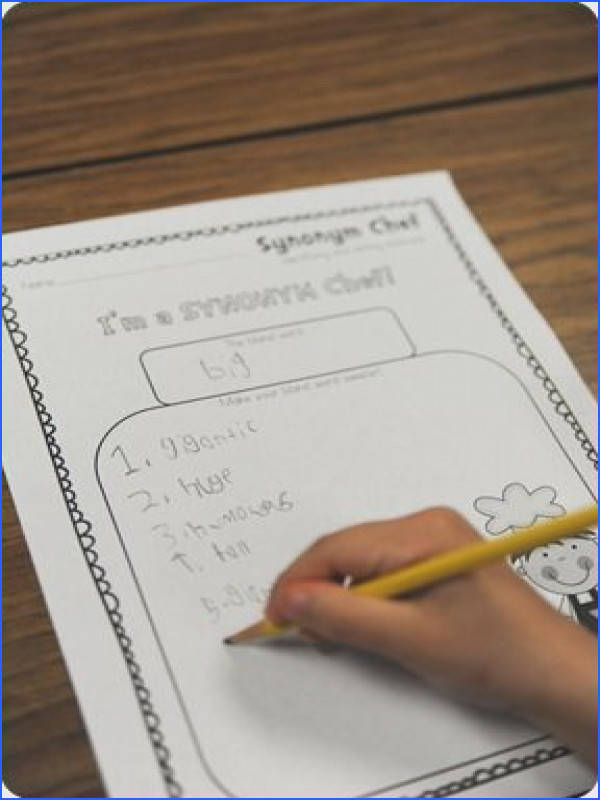 "teaching synonyms worksheet and then making ""synonym"" rolls"