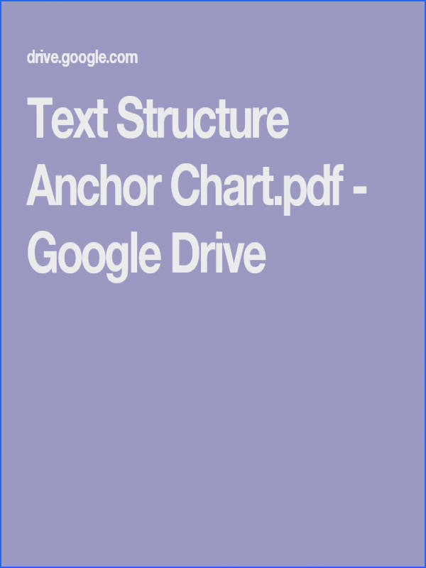 Text Structure Anchor Chart pdf Google Drive