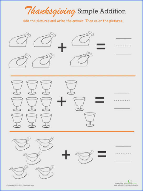 Worksheets Thanksgiving Math Simple Addition 1
