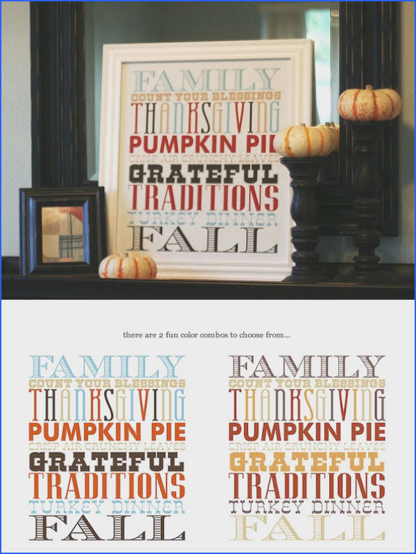 Thanksgiving Poster Free PDF Printable in 2 Colorways