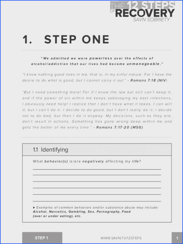 The 12 Steps Of Recovery Savn sobriety Workbook Image Below Aa Step 1 Worksheet