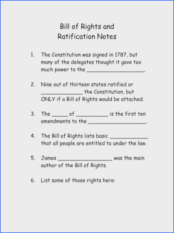 bill of rights and ratification notes 5th 6th grade worksheet lesson plan 8th odm2oda5l bill of
