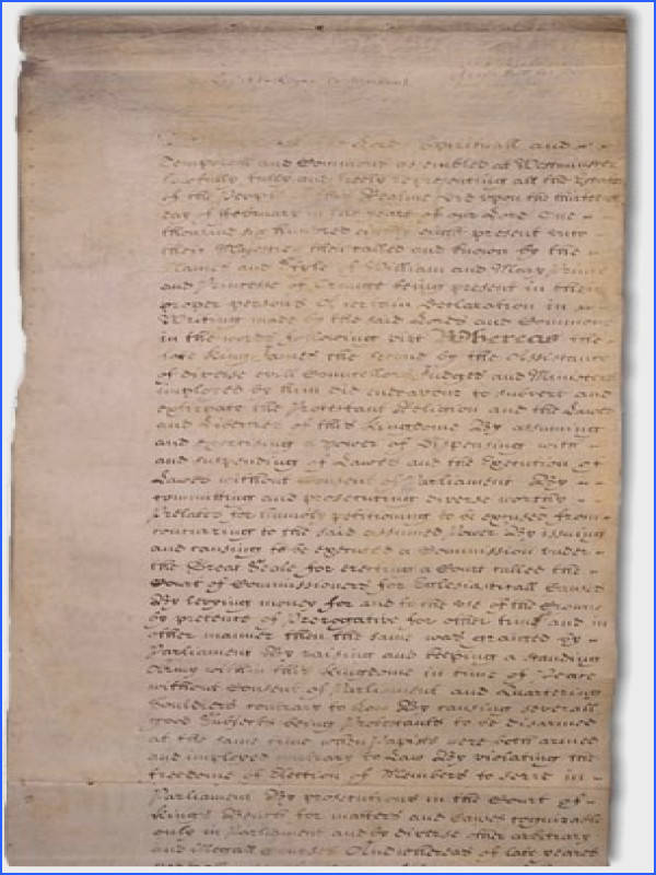 English Bill of Rights The US Bill of Rights drew many of its First Amendment provisions from other countries bill of rights such as the English Bill of