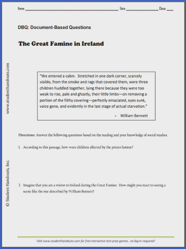 """""""The Great Famine in Ireland"""" by William Bennett Free printable DBQ worksheet for"""
